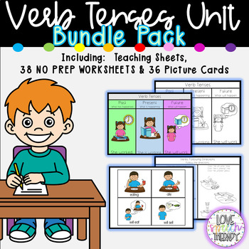 Verb Tenses Packet - NO PREP Worksheets & Picture Cards