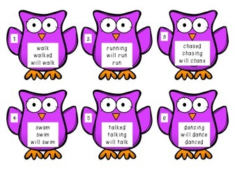Verb Tenses: Past, Present, Future with Owls Scoot