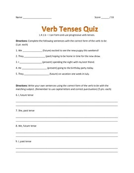 Verb Tenses Quiz
