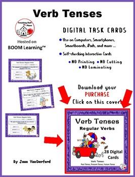 DIGITAL Verb Tenses ... Regular Verbs ... Grammar: BOOM™ Internet Task Cards