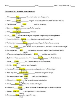 Verb Tenses Review #1 with Detailed, Highlighted Answer Key