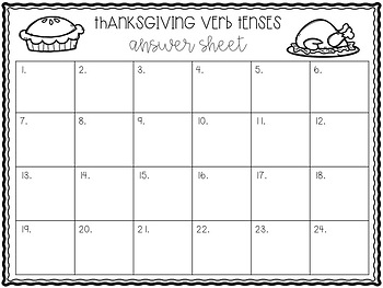 Verb Tenses SCOOT-- Thanksgiving Themed
