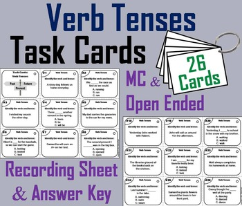 Verb Tenses Task Cards 3rd and 4th Grade