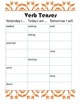 Verb Tenses Worksheet by Kittys ESL Resources | Teachers Pay Teachers