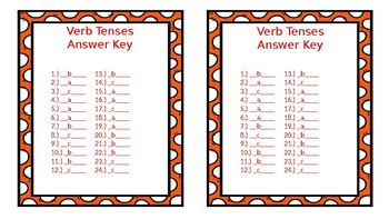 Verb Tenses  with Answer Key