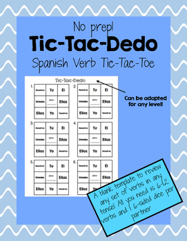 Blank template spanish verb tic tac dedo tic tac toe by for Tic tac toe template for teachers