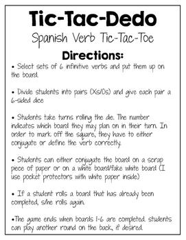 Blank Template: Spanish Verb Tic-Tac-Dedo (Tic-Tac-Toe)