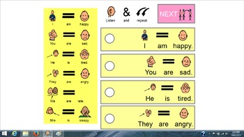 Verb To Be Interactive Activity Board for ESL/Special ED. Learners