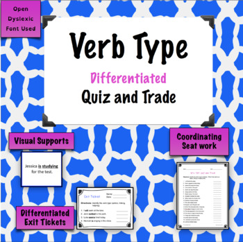 Verb Types Game - Quiz and Trade