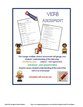 Verb Unit Test  or Assessment - Also Great for ELA Test Prep