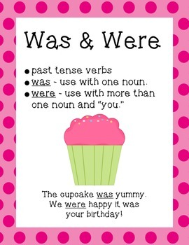 Verb Usage Posters for Was & Were, Have & Has, Go & Do, and See & Saw