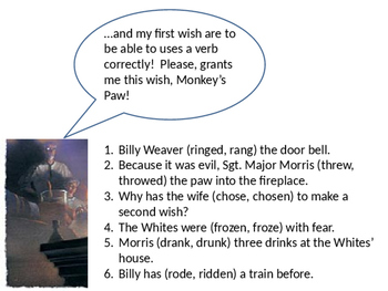 "Verb Usage in ""The Landlady"" and ""The Monkey's Paw"" and Pr"