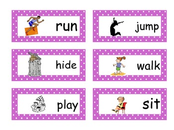 Verb Word Wall Cards *BONUS* game included!