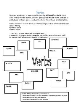 Verb Worksheet