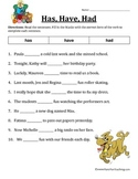 Verb Worksheet - Has, Have, Had