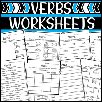Verb Worksheets: Matching, Writing, and Identifying Verbs!