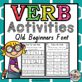 Verb Worksheets QLD Beginners Font