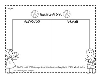 Adverb and Verb  Basketball Sort