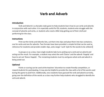 Verb and Adverb the Game