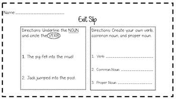 Verb and Noun Exit Slip