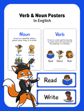 Verb and Noun Posters - In English - Illustrated Posters
