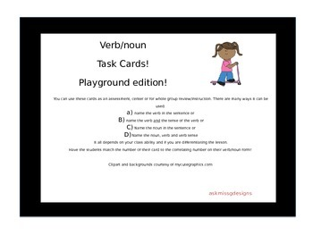 Verb and Noun Task Cards: Playground Edition