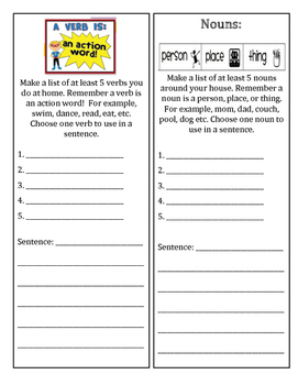 Verb and Noun worksheet