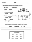 Verb and Present Tense Verbs Grammar Test
