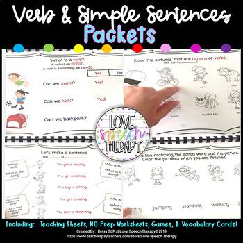 Verb and Simple Sentence Packet #2!  No Prep and Minimal Prep!
