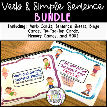 Verb and Simple Sentence Packets #1 & #2 BUNDLE!