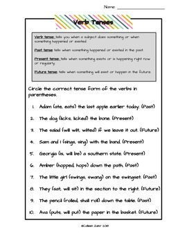 Verb and Verb Tenses Mini-Unit with slideshow, notes, worksheets, sort & test