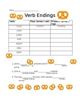 Verb endings -ed, -ing