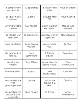 Verb + infinitive in French Dominoes