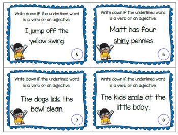 Verb or Adjective Task Cards