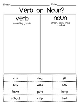 Verb or Noun Sort by Angelina Wilcox | Teachers Pay Teachers