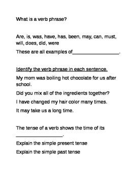 Verb test review sheet