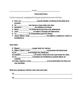 Verb venir and traer worksheet