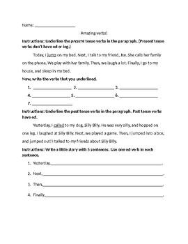 Verb worksheet (present and past tense)