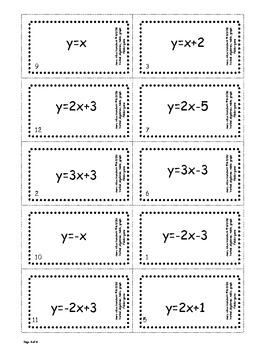 Verbal, Algebraic, Table, Graph match folder game