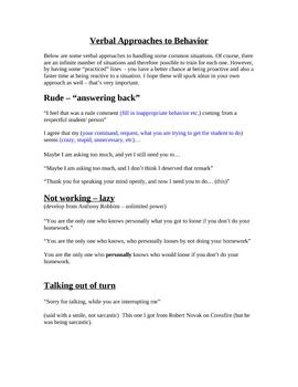Verbal Behavior Strategies (classroom discipline)