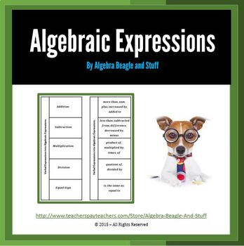 Verbal Expression into Algebraic Expressions Foldable