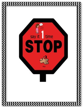 Verbal Perseveration Say it 1 Time and Stop Visual Prompt