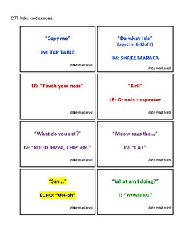 Verbal Response Cheat Sheet with Correlated DTT Index Card Examples