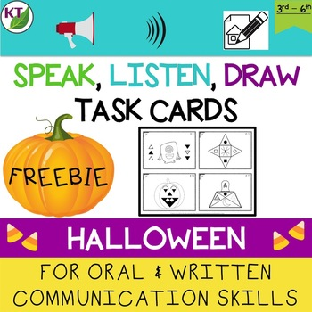 Oral and Written Communication Skills Task Cards: Halloween Freebie