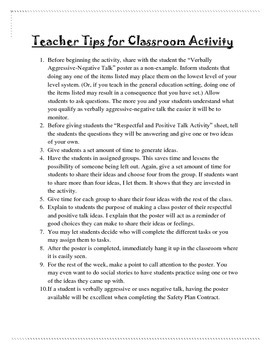 Verbally Aggressive Poster and Positive Talk Classroom Activity