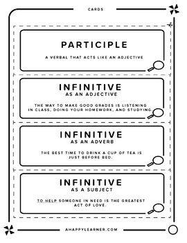 Verbals Word Wall Cards