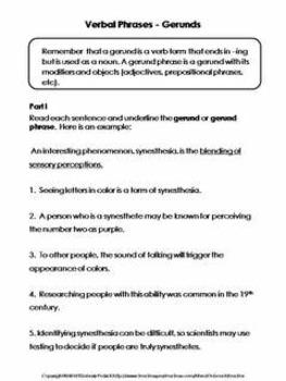 Verbals (Gerunds, Infinitives, Participles) Scavenger Hunt & Worksheet Practice