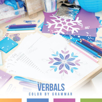 Verbals (Gerunds, Participles, Infinitives) Snowflake Coloring Sheet