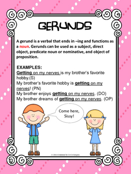 Verbals Gerunds and Gerund Phrases Classroom Poster L.8.1a