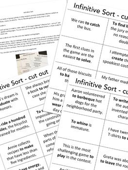 Verbals - Infinitive Sort Game